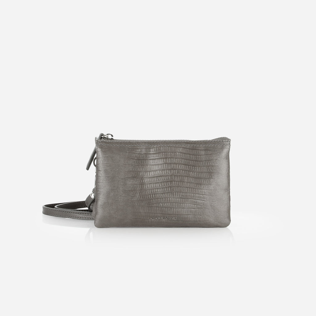 The 3-In-1 Wristlet Smoke Grey Lizard