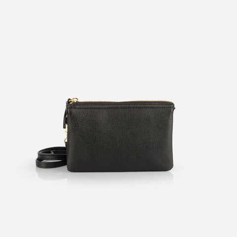 The 3-in-1 Wristlet - black leather mini wallet purse - Poppy Barley