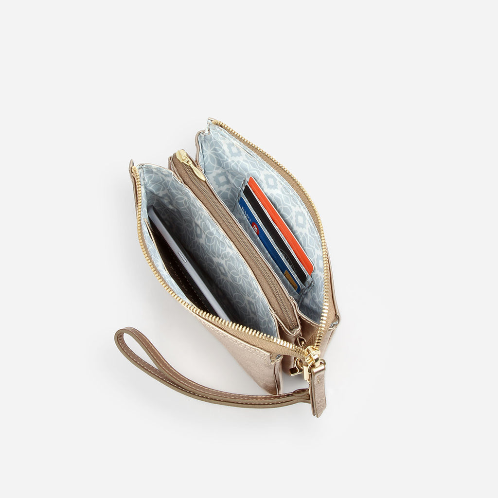 The 3-in-1 Wristlet - gold metallic leather mini wallet purse - Poppy Barley