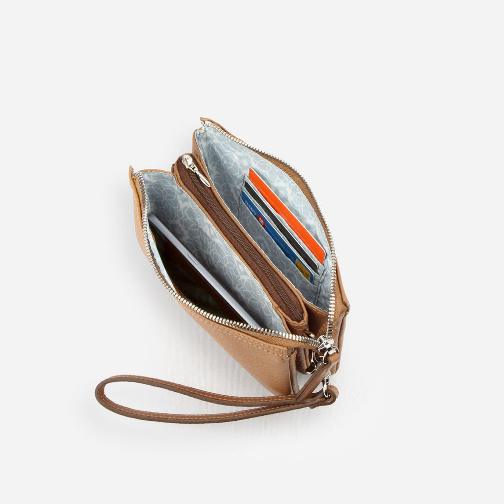 The 3-in-1 Wristlet - brown leather mini wallet purse - Poppy Barley