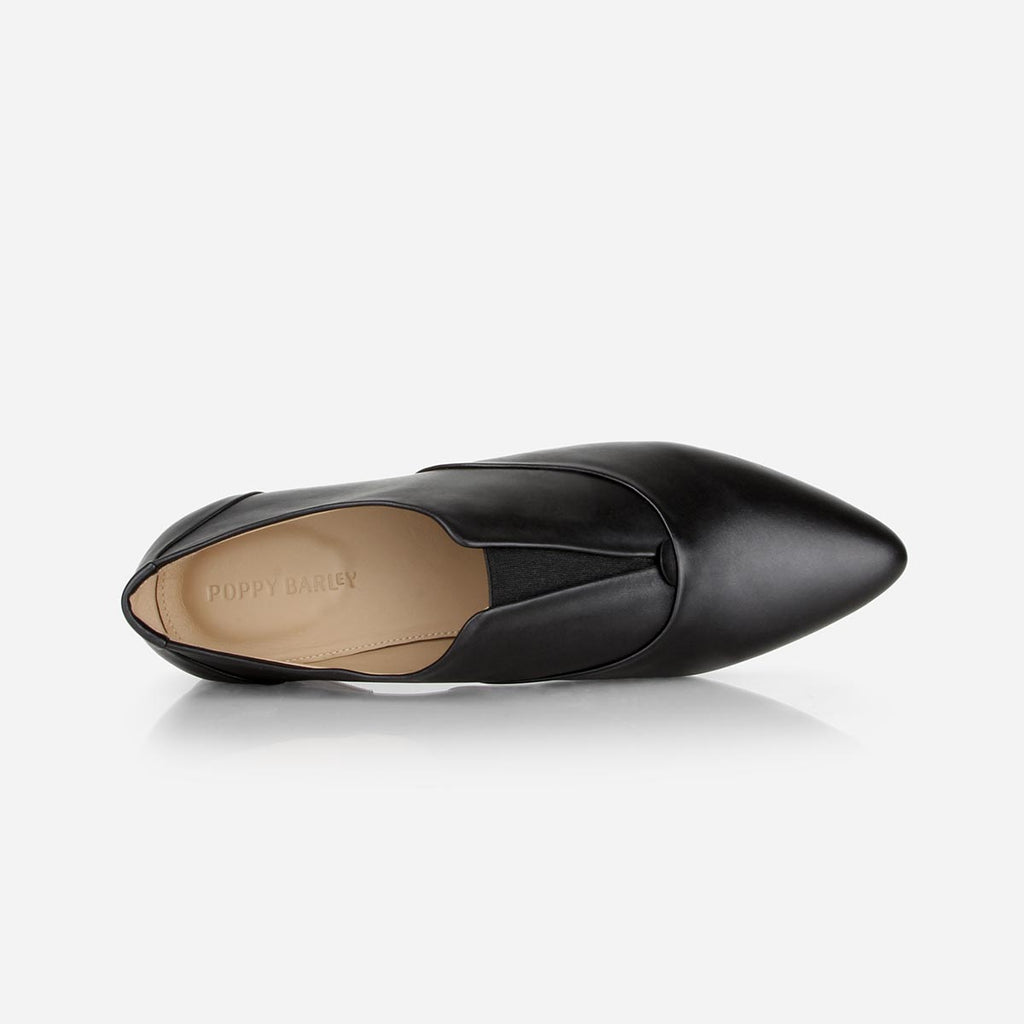 The 365 Slip-On - black leather womens oxford flat - Poppy Barley