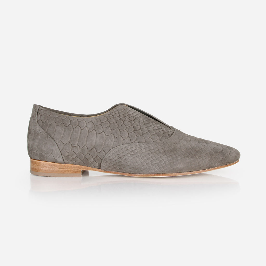 The 365 Slip-On - grey textured nubuck leather womens oxford flat - Poppy Barley
