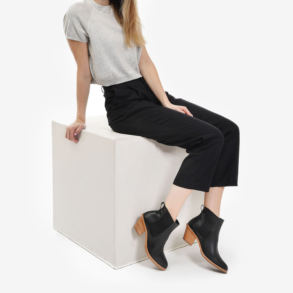 The Heeled Chelsea Boot - water resistant black leather chelsea boot with block heel - Poppy Barley