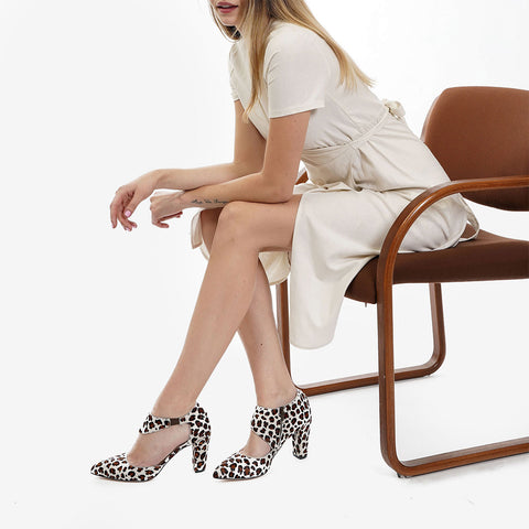 The Meghan Cutout - Cheetah print calf hair women's pointed toe heel - Poppy Barley