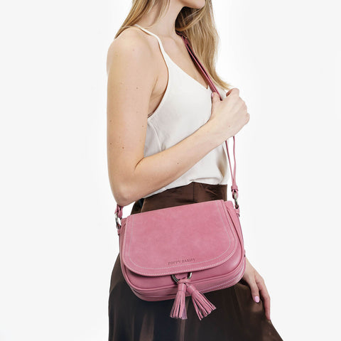 The Saddle Bag - pink nubuck and leather tassel crossbody womens bag - Poppy Barley