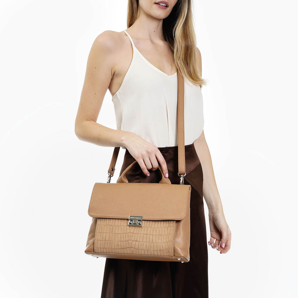 The Shoulder Satchel Sand Pebble/Sand Embossed Python