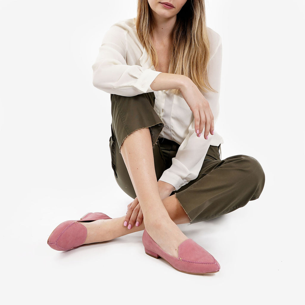 aad1bd415bb The Classic Loafer - pink nubuck leather womens pointed toe flat - Poppy  Barley