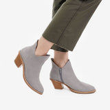 The Two Point Five Ankle Boot - grey nubuck 2.5-inch stacked heel ankle boot - Poppy Barley