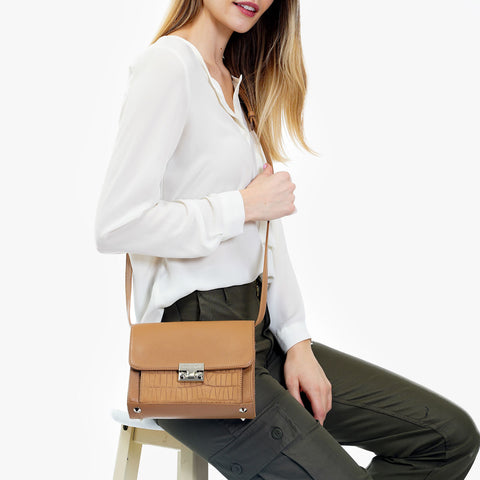 The Mini Shoulder Satchel - tan leather with textured pocket womens small crossbody purse - Poppy Barley