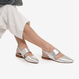 The Slingback Mary Jane - silver leather womens strapped closed toe flat - Poppy Barley