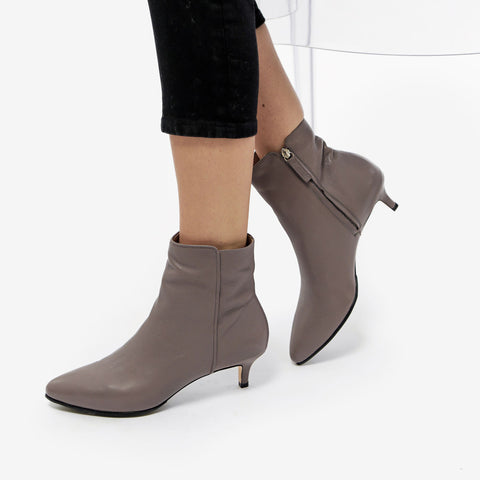 The Kitten Heel Bootie - grey pebbled leather 2 inch heeled women's ankle boot - Poppy Barley