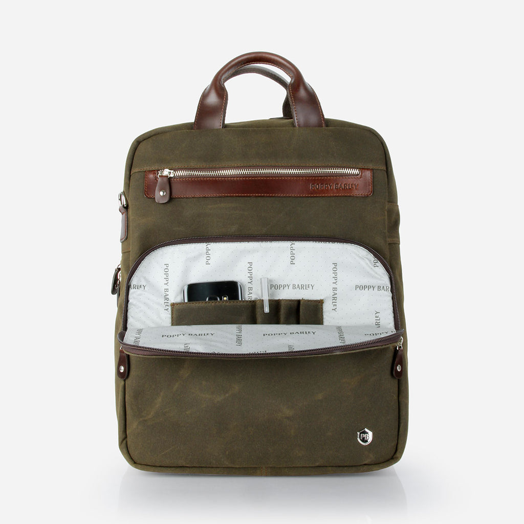 The Backpack Olive Canvas
