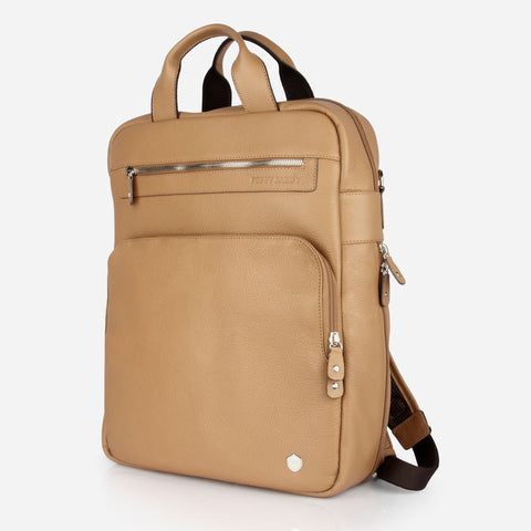 The Backpack - tan leather commuter backpack - Poppy Barley
