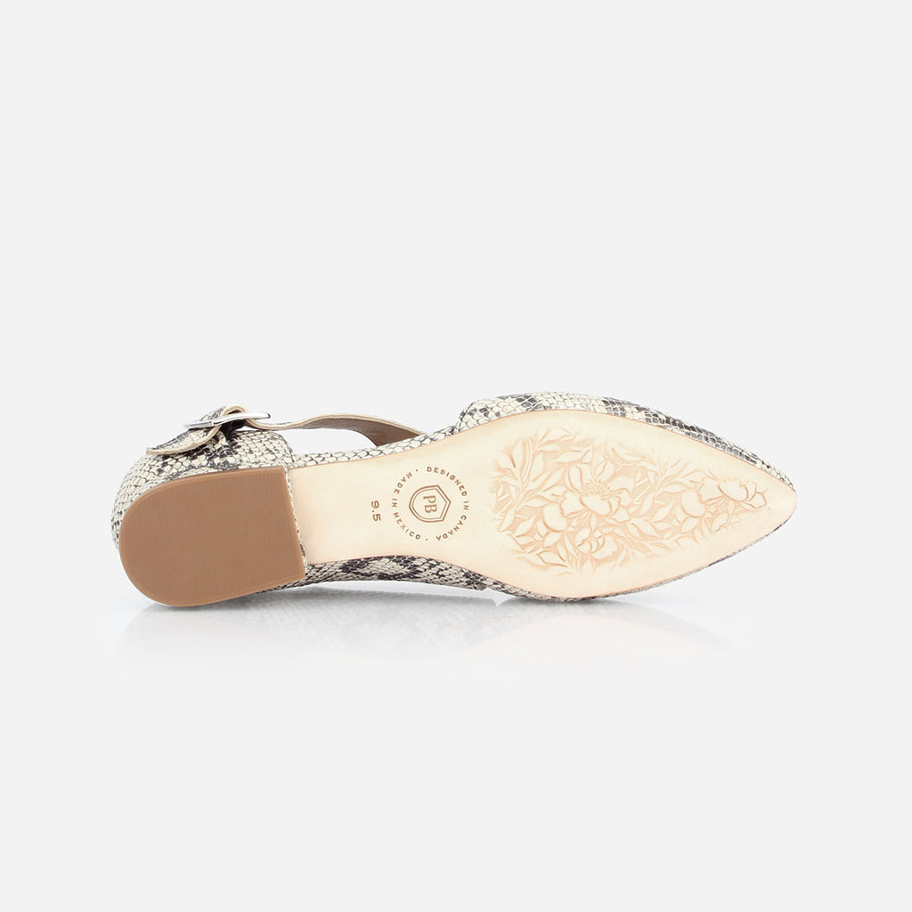 The Beltline Cutout Flat - snake print leather cut-out womens flat - Poppy Barley