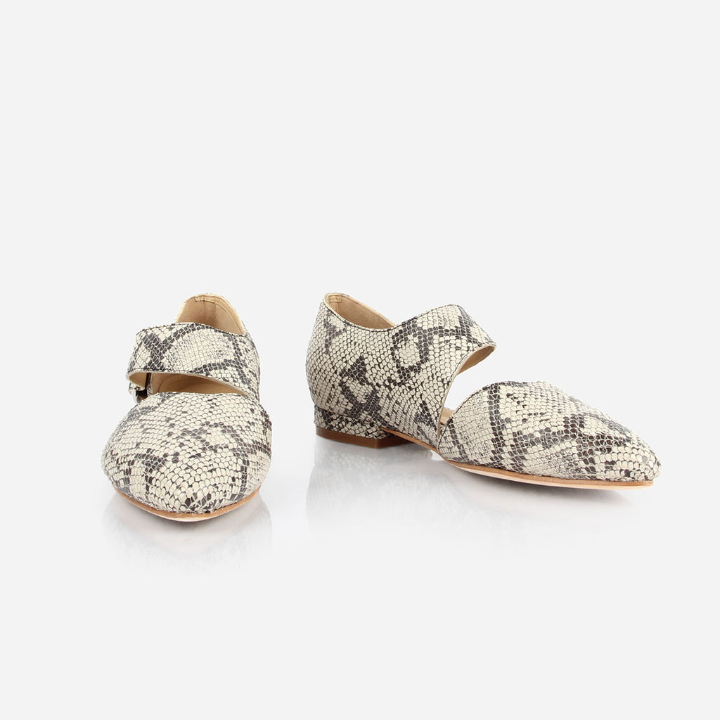 The Beltline Cutout Flat - snake print leather cutout womens flat - Poppy Barley