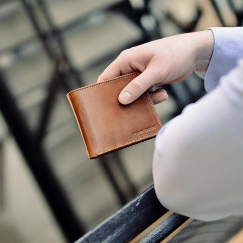 The Bifold Wallet - brown leather mens slim wallet - Poppy Barley