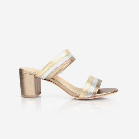 The Block Party Sandal Metallic Multi - silver and gold womens block heeled sandal - Poppy Barley