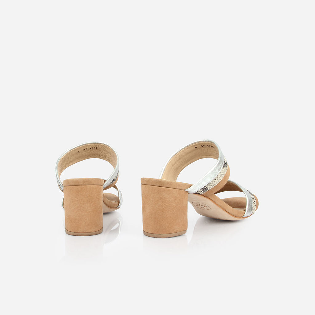 The Block Party Sandal - tan nubuck, silver and snake print leather block heeled womens sandal - Poppy Barley