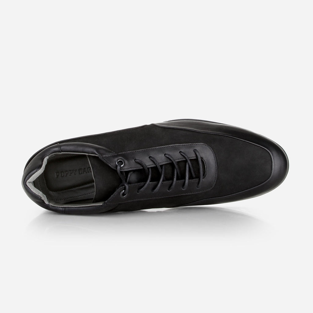The Brentwood Sneaker - black suede and smooth leather mens causal sneaker - Poppy Barley