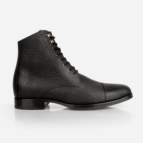 The Buffalo Boot - black bison leather mens boots - Poppy Barley