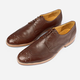 The Calgary Wingtip - brown leather wingtip mens dress shoes custom - Poppy Barley