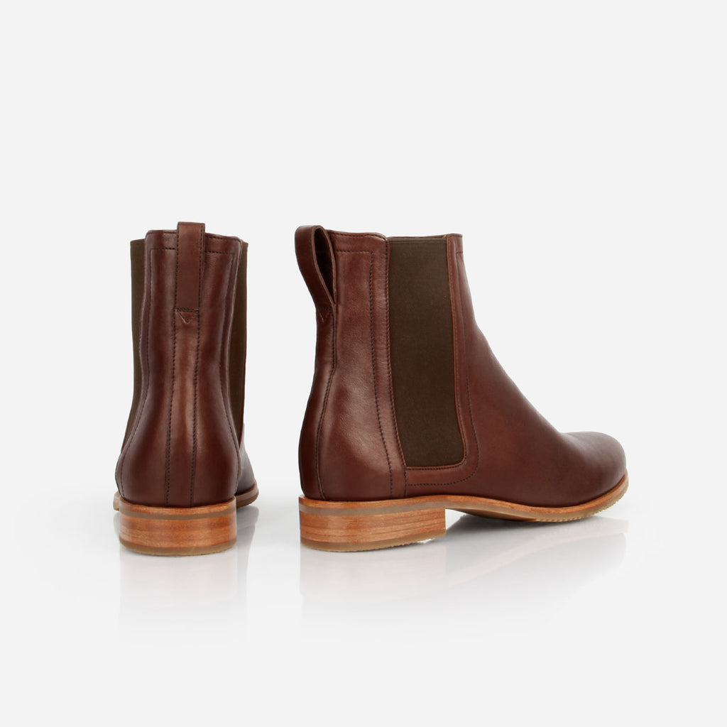The Chelsea Boot - brown leather womens ankle boot with elastic - Poppy Barley