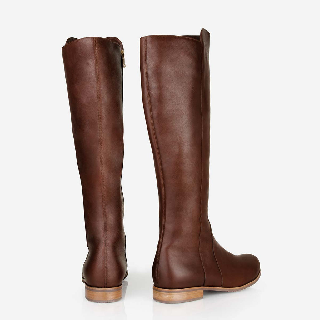 The City Boot -  brown leather tall boot - Poppy Barley