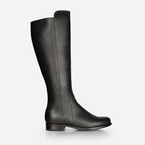 The City Boot -  black leather tall boot - Poppy Barley