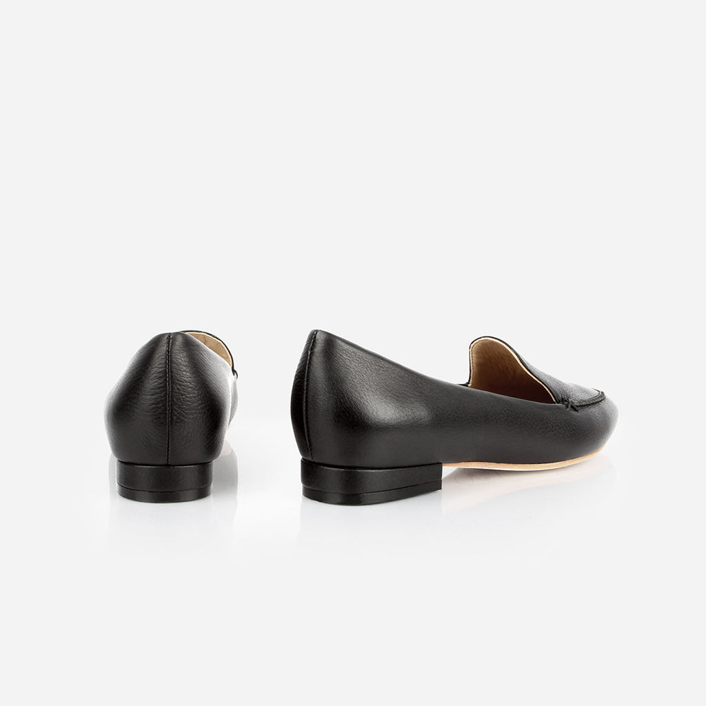 The Classic Loafer -  black textured leather womens pointed toe flat - Poppy Barley