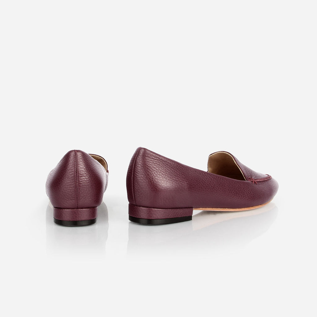 The Classic Loafer -  plum pebbled leather womens pointed toe flat - Poppy Barley
