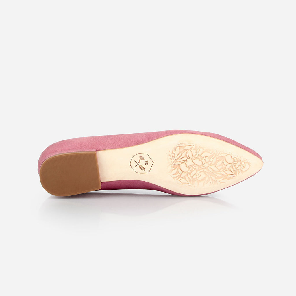 The Classic Loafer - pink nubuck leather womens pointed toe flat - Poppy Barley