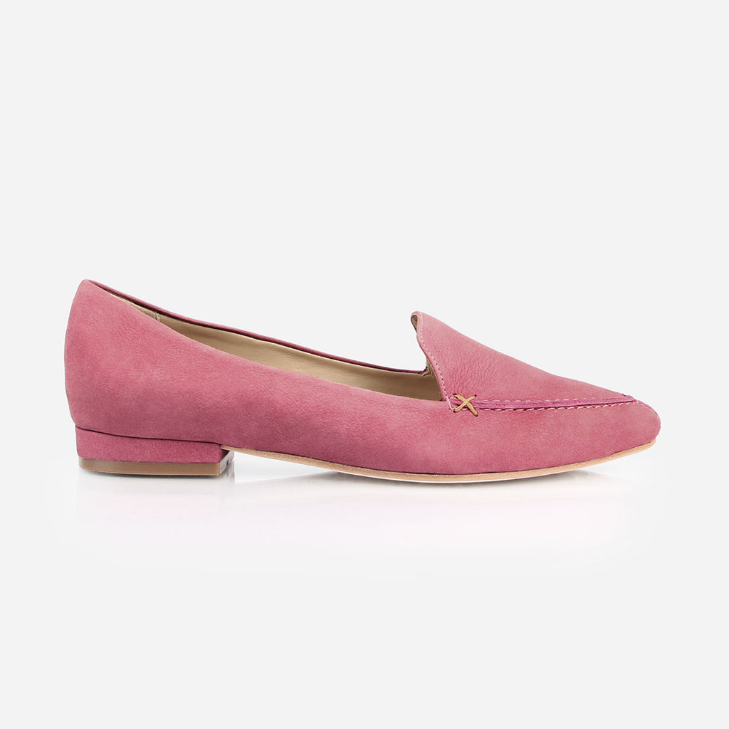 9258b6f0b7b ... The Classic Loafer - pink nubuck leather womens pointed toe flat - Poppy  Barley ...