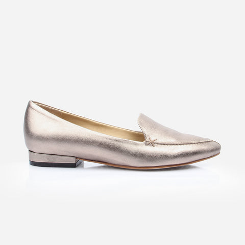 The Classic Loafer -  gold leather womens pointed toe flat - Poppy Barley