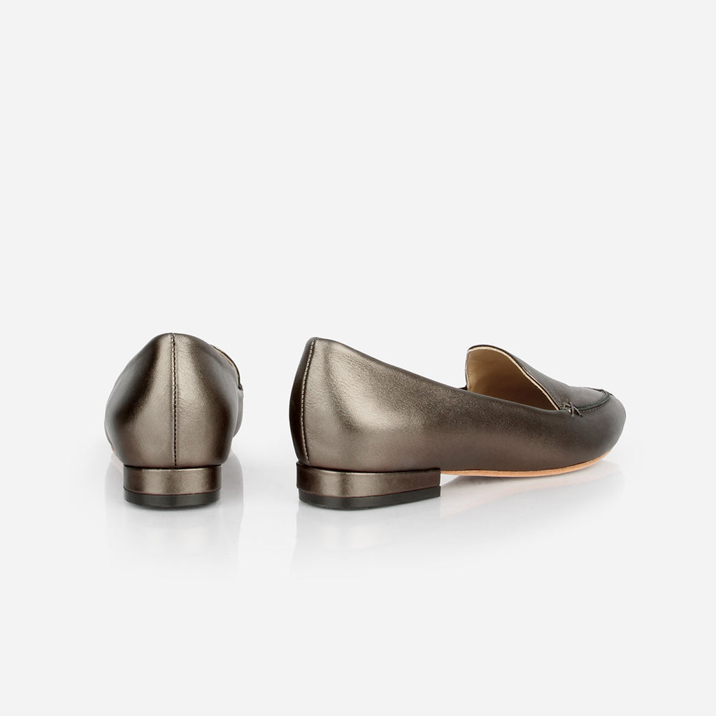 The Classic Loafer -  metallic grey leather womens pointed toe flat - Poppy Barley