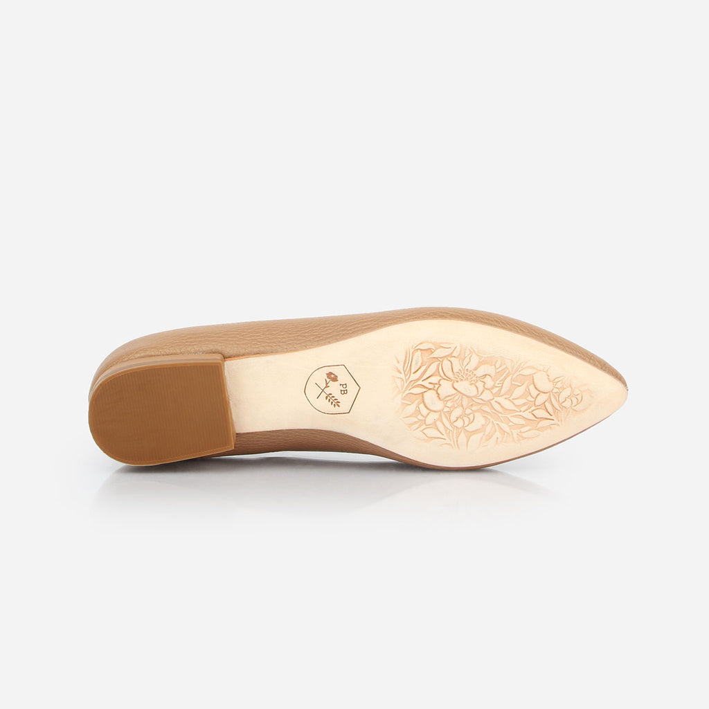 The Classic Loafer - tan pebbled leather womens pointed toe flat - Poppy Barley