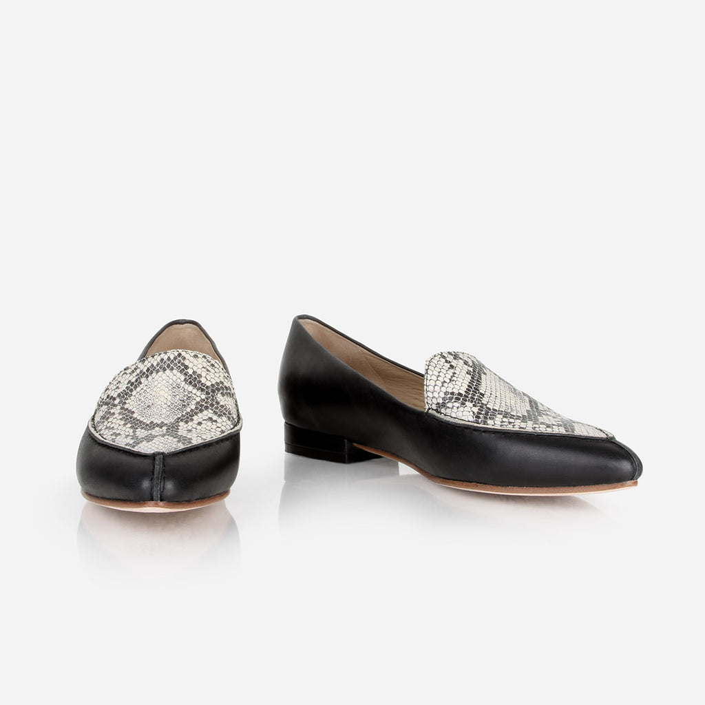 The Classic Loafer -  black leather womens pointed toe flat with snake pattern accent - Poppy Barley