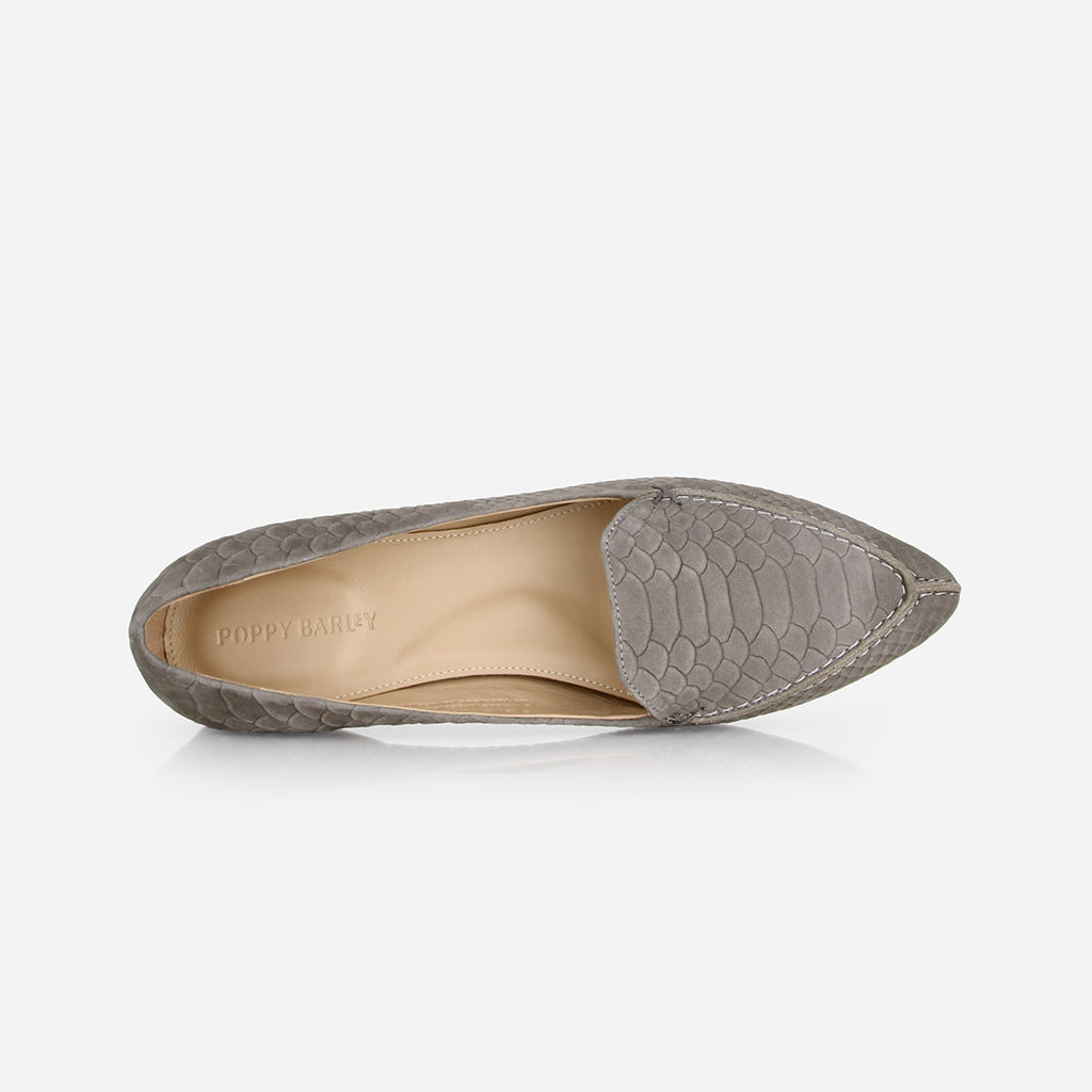 The Classic Loafer -  grey textured nubuck leather womens pointed toe flat - Poppy Barley