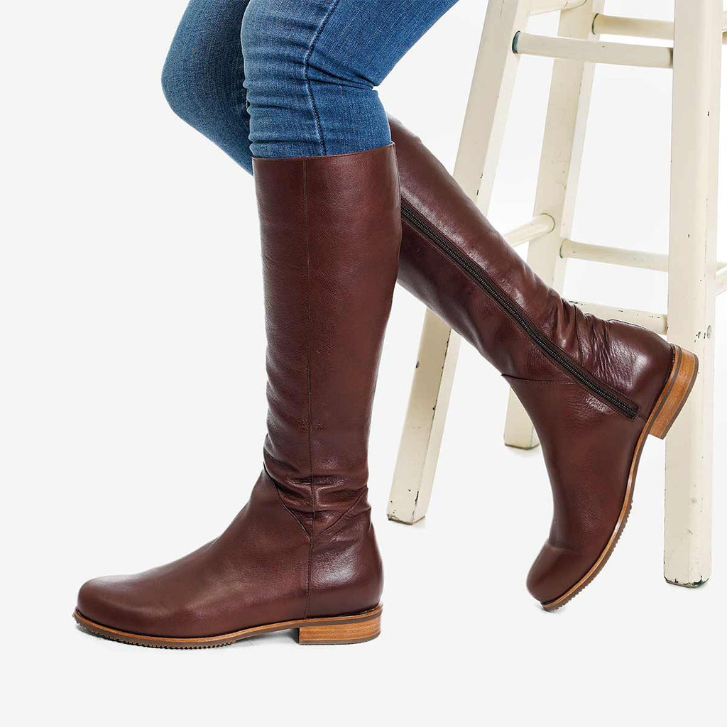 The Kensington Boot -  chestnut brown leather tall boot - Poppy Barley