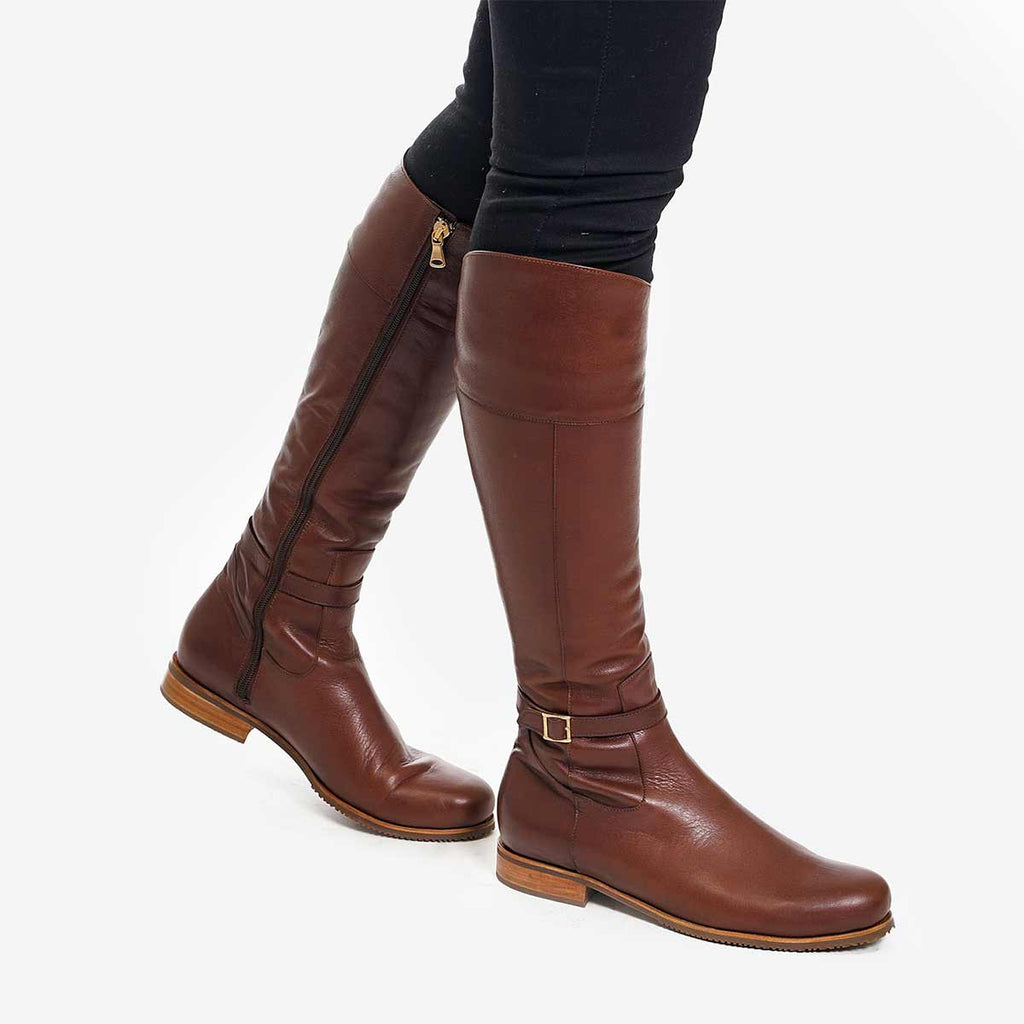 The Riversdale Boot -  chestnut brown leather tall boot - Poppy Barley
