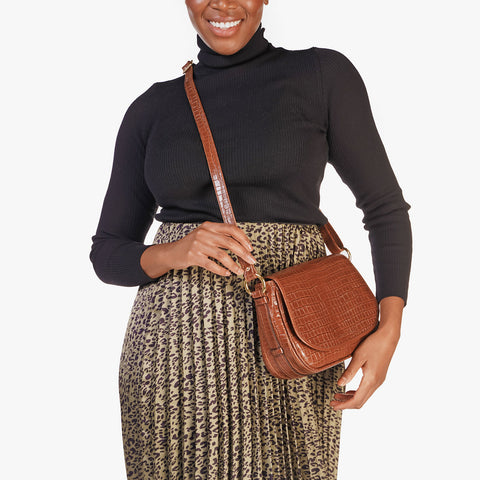 The Refined Saddle Bag Toffee Tan Croc