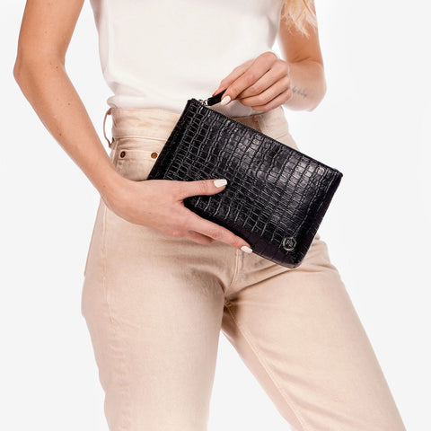 The Sidekick Pouch Black Croc