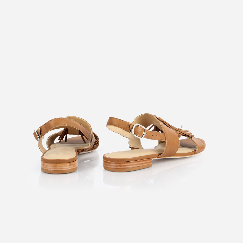 The Della Tassel Sandal - brown leather womens tassel sandal - Poppy Barley