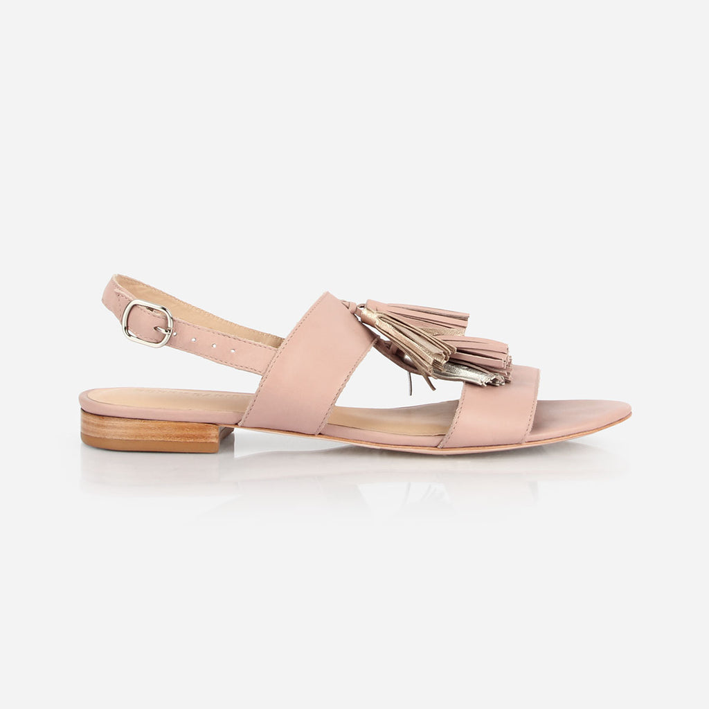 The Della Tassel Sandal - pink leather womens metallic tassel sandal - Poppy Barley