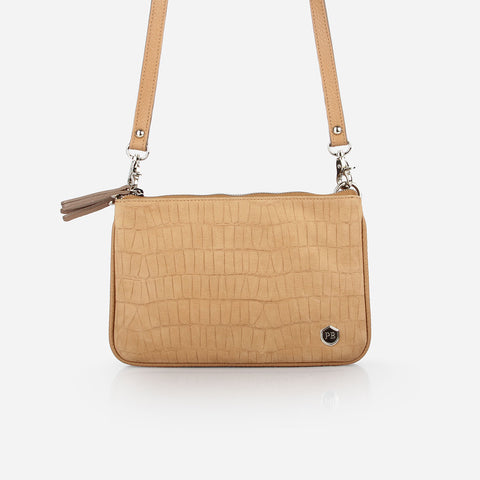The Essentials Purse - tan embossed nubuck leather small cross-body bag - Poppy Barley