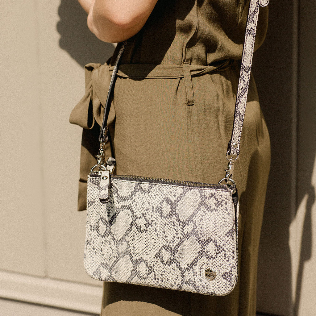 The Essentials Purse - snake print leather small cross-body bag - Poppy Barley