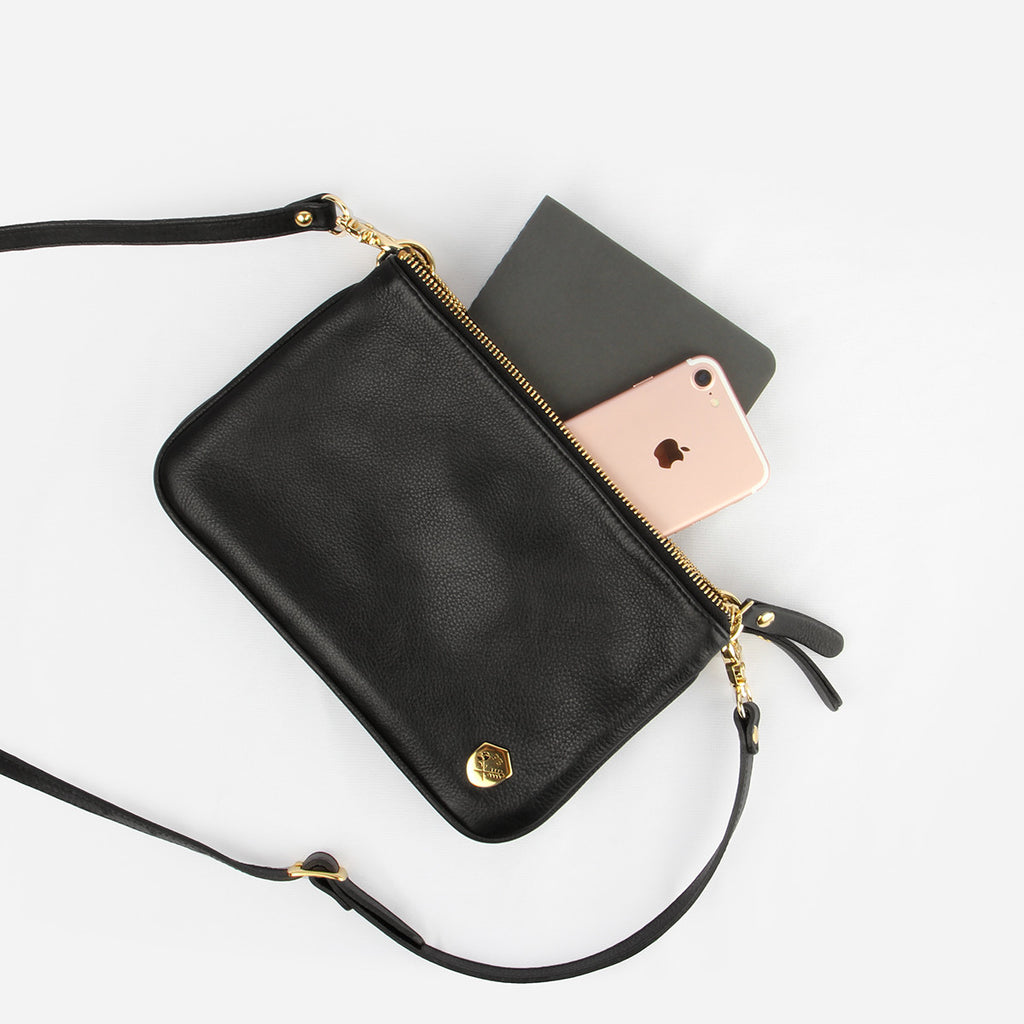 The Essentials Purse - black leather small cross-body bag - Poppy Barley