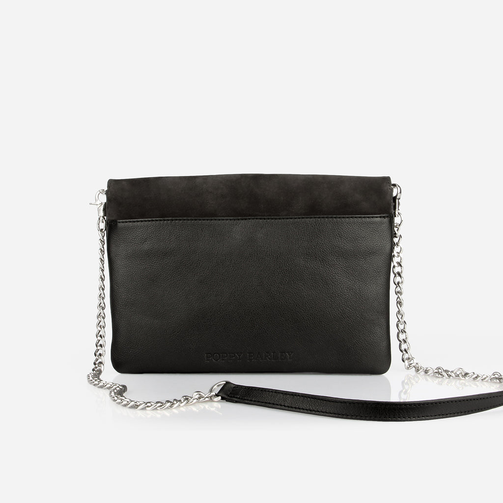 The Evening Clutch - black leather silver chained clutch - Poppy Barley
