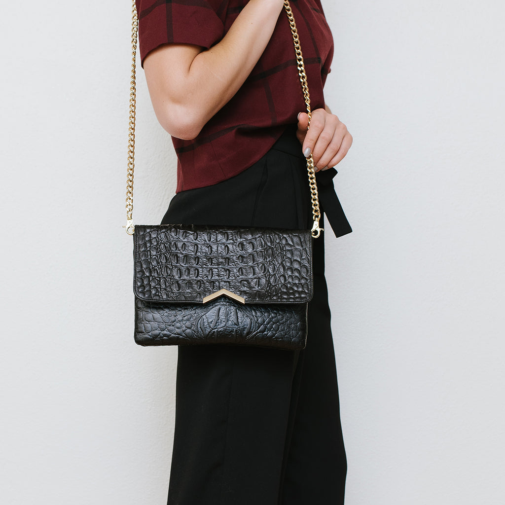 The Evening Clutch - black croc leather gold chained clutch - Poppy Barley
