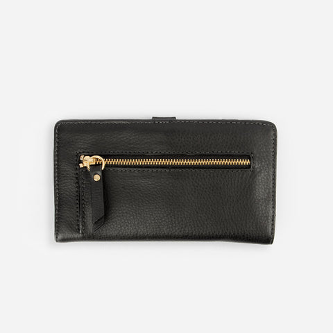 The Everyday Bifold Wallet - black leather womens slim wallet - Poppy Barley