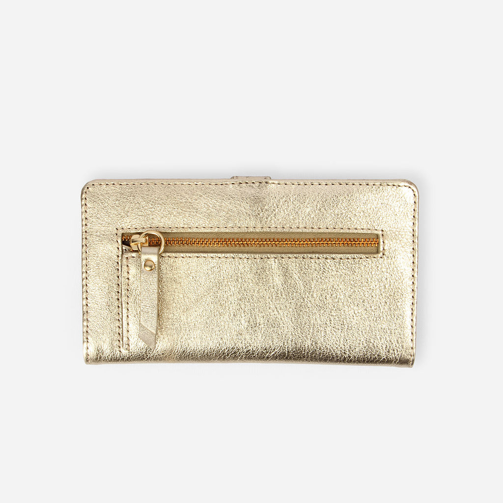 The Everyday Bifold Wallet - gold metallic leather womens slim wallet - Poppy Barley